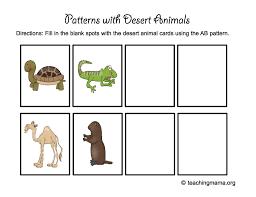 Animal Activity Chart Desert Animal Printables Teaching Mama Patterns Nocturnal