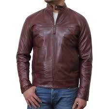 mens brown leather biker jacket colin