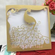 Elegant Invitation Cards Us 42 99 50pcs New Arrival Wedding Card Party Favors Laser Cut Hollow Peacock Elegant Invitation Cards With Inner Cards Wedding Supplies In Cards