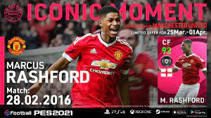 """eFootball PES on Twitter: """"This week's #IconicMomentSeries starts with  Marcus Rashford (28.02.2016) 😍 Scoring 2 goals within 3 minutes during his  domestic league debut match, Rashford confidently secured victory for his  team"""