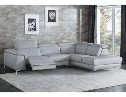 trevor gray genuine leather modern sectional with recliner jpg