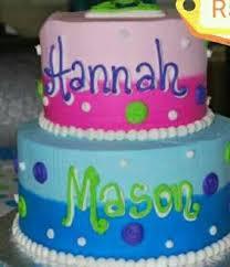 Boy Girl 2 Tier Birthday Cake Cakes Twin Birthday Cakes
