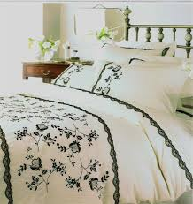 king size cream black embroidered amor duvet set and plain pillowcases helena springfield designer range