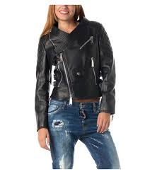 womens clothing dsquared2 women s black leather jacket xckzvsw3841 ping