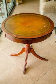 Original antique duncan phyfe style leather top rotating drum table very nice. How To Restore A Mahogany Leather Top Table With Sheet Music Leather Coffee Table Leather Top Coffee Table Mahogany Leather