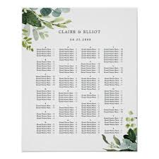 Seating Chart In Alphabetical Order Alphabetical Order Greenery Wedding Seating Chart