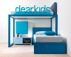 colorful built in kid bunk bed with extra storage blue kids furniture