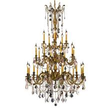 elegant lighting 25 light french gold chandelier with clear crystal
