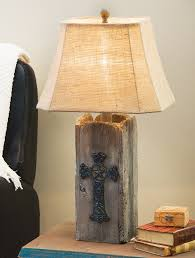 barnwood cross table lamp a lone star western decor exclusive bring rugged western spirit to a room with the polyresin barnwood cross table lamp in an