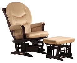 com dutailier sleigh glider and ottoman combo espresso beige baby