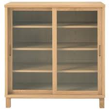 oak wood cabinet sliding glass doors