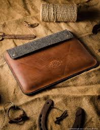 personalized ipad pro sleeve from genuine leather and felt