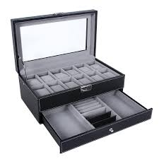 12 slots 2 tier with jewelry compartment with inner gray