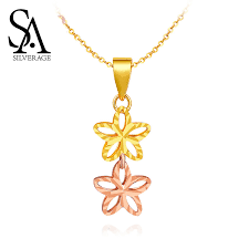 <b>SA SILVERAGE 18K</b> Rose Gold Woman Pendant 2019 Chain ...