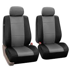 pu leather car seat covers for auto pu leather split bench full seat cover set with tissue dispenser gray black com
