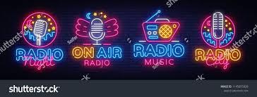 Neon Sign Logo Design Radio Neon Sign Collection Vector Radio Night Neon Logos