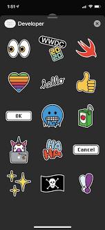 WWDC 2020 iMessage stickers in the Developer app. Love the unicorn. : apple