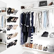 how to make your exposed closet look elevated shoe wall