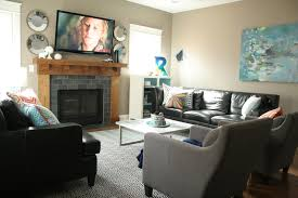 Living Room Black Leather Sofa Living Room Black Leather Sectional Sofa Nice Gray Fabric