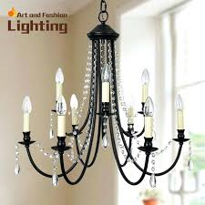 wrought iron crystal chandelier lighting with black