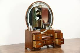 art deco waterfall 1935 vintage dressing table vanity etched round mirror