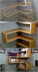 hand built art style corner shelves