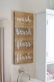 Decor For Bathrooms wash brush floss flush wooden sign in kids bathroom stenciled 6745 by uwakikaiketsu.us