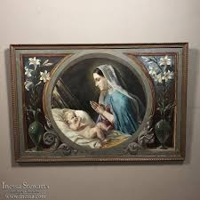 antique oil painting on canvas of madonna child