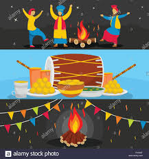 Happy Lohri festival banner horizontal ...