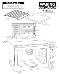 waring wco500x half size convection oven parts page a