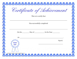 Formal Certificates Certificate Of Achievement Form Printable Hard Work Certificates