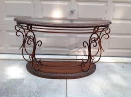 glass top half round table