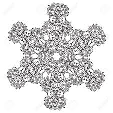 Abstract Lace Snowflake Mandala Ornament Coloring Page For