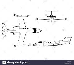 Airplane Drawing 3 View Aircraft Line Art Drawing Learjet Stock Photo 39595036 Alamy