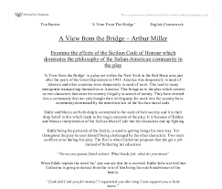 to what extent is a view from the bridge a play about a clash of examine the effects of the sicilian code of honour which dominates the philosophy of