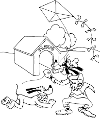 Small Picture Goofy and Pluto Playing Kite Coloring Page Color Luna