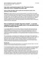 Quality Of Work Example How To Implement A Quality Assurance Model A Concrete Example Of