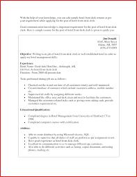 Best Of Front Desk Resume Formal Letter