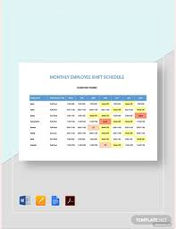 Employee Shift Monthly Employee Shift Schedule Template Pdf Word