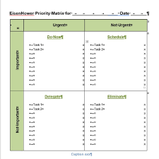 Scheduling Matrix Template Action Priority Eisenhower Urgent Important Matrix For Word