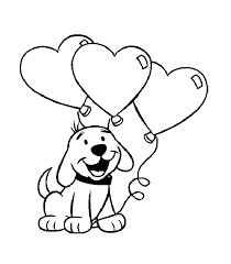 Cute Puppy with Heart Balloons Coloring Pages Sheets valentine and love coloring pages part 5 on cute valentines template
