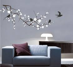 Cherry Blossom Wall Decal Cherry Tree Branch with Birds - Vinyl Wall Art  Tree Wall Decals