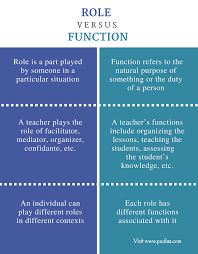 difference between role and function definition characteristics difference between role and function comparison summary