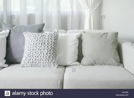 Modern Light Gray Living Room Light Gray Sofa Set With Pillows In Modern Interior Living