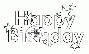 Small Picture Happy Birthday Letters Card with Stars coloring page for kids
