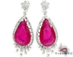 womens jewelry unique earrings stone 18k gold pink ruby and diamond chandelier earrings