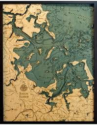 Wood Bathymetric Charts Woodcharts Boston Harbor Bathymetric 3 D Wood Carved Nautical Chart