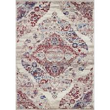 blue red traditional area rug