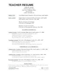Example Resumes For Teachers Examples Of Educational Resumes Teachers Resumes Sample Teacher