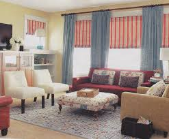 amazing french country living room furniture collection blue fabric vertical curtain red striped fabric windows blind